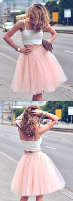 Two Pieces Tulle Homecoming Dress,Short Prom Dresses,Cocktail Dress,Homecoming Dress,Graduation Dress,Party Dress,Short Homecoming Dress