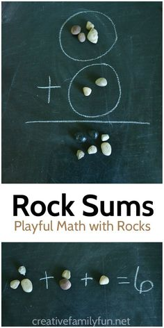 Practice math in the backyard with this for outdoor math activity, Addition With Rocks, which uses rocks as a math manipulative to work on adding. Outdoor Activities For Kids, Outdoor Learning, Home Learning, Math For Kids, Fun Math, Learning Activities, Family Activities, Educational Activities, Learning Spanish