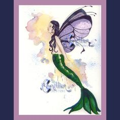 Mermaid Fairy Butterfly from Original Watercolor Painting by Camille Grimshaw. $6.99, via Etsy.