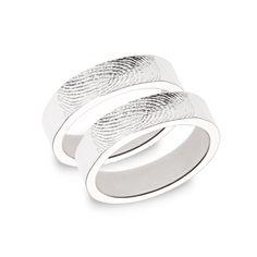 Partner- & Eheringe - Ringpaar »Silhouette« in Weißgold mit Fingerabd... - ein Designerstück von GOLDWERKmanufaktur bei DaWanda