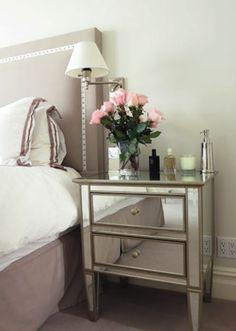 bedroom, nailhead trim headboard, mirrored nightstand