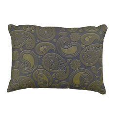 Burnt Umber Yellow Paisley motif Decorative Pillow