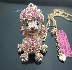 Betsey Johnson crystal poodle charm necklace