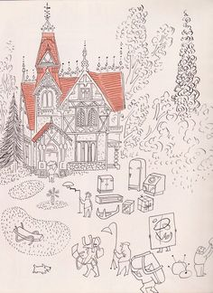 Daily Lazy: saul steinberg for modern living. Saul Steinberg, The New Yorker, Alice Martin, Ben Shahn, Amazing Drawings, Watercolor Drawing, Art Party, Texture Art, Comic Artist