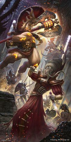 Warhammer - Age of Sigmar - Grimwrath Berserker vs Cyssandra, Rafael Teruel on ArtStation at https://www.artstation.com/artwork/vEAya