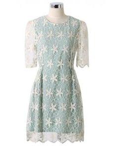 Chicwish Full Crochet Floral Mint Green Dress