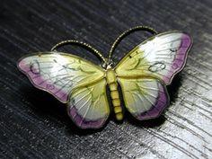 Sterling Silver Guilloche Enamel Butterfly Brooch Norwegian Classic Fantastic | eBay