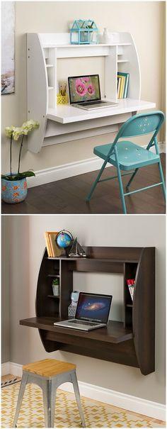 16 Trendy Decor Office Home Desk Areas Home Furniture, Furniture Design, Furniture Ideas, Space Saving Desk, Diy Home Decor, Room Decor, Home Desk, Home And Deco, Home Office Design