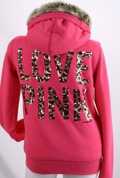 abed591f605 Victoria s Secret PINK Leopard Sequin Bling Fashion Show Fur Hoodie Coat