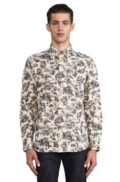 Obey Westley Button Down in Cream