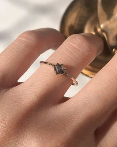 The Salt + Pepper Kite Ring – Après Jewelry Wedding Rings Simple, Wedding Rings Vintage, Unique Rings, Black Diamond Wedding Rings, Alternative Wedding Rings, Simple Rings, Simple Silver Rings, Simple Vintage Rings, Hippie Wedding Ring