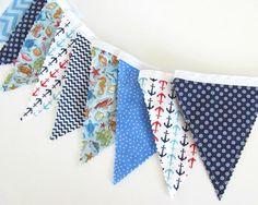 Nautical Nursery Baby Boy Bunting Banner Anchors by OvationStudio