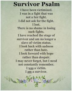 Survivor Psalm for inspired living. Never giving up, keeping hope alive and never giving up until the miracle comes turns surviving into thriving for those who persevere