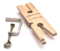 Wood bench pin with clamp. Metal Clay Discount Supply
