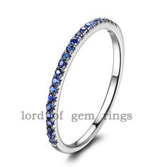 Stackable Pave Brilliant Blue Sapphire 14K White Gold Half Eternity Wedding Ring on Etsy, $145.00