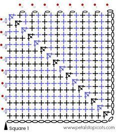 Transcendent Crochet a Solid Granny Square Ideas. Inconceivable Crochet a Solid Granny Square Ideas. Crochet Squares Afghan, Crochet Blocks, Granny Square Crochet Pattern, Crochet Diagram, Crochet Chart, Filet Crochet, Knit Crochet, Crochet Granny, Crochet Cushions