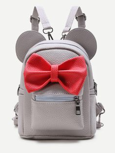 Grey Ear Shaped PU Backpack With Contrast Bow Fab Bag a9cd1e926fc61