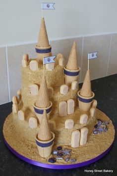 Sandcastle cake for corporate customer's beach party themed event