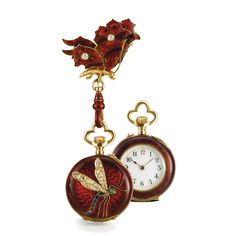 """LECOULTRE, A FINE AND VERY APPEALING YELLOW GOLD, ENAMEL AND DIAMOND SET """"BUTTERFLY"""" AND """"DRAGONFLY"""" OPEN-FACED KEYLESS CYLINDER FOB WATCH, CIRCA 1905"""