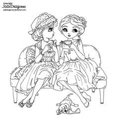 Tea and Gossips - Lineart by JadeDragonne.deviantart.com on @DeviantArt