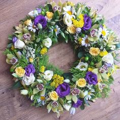 Traditional funeral wreath created using a moss base Floral Foam, Funeral, Floral Wreath, Wreaths, Crafty, Flowers, Amber, Projects, Base