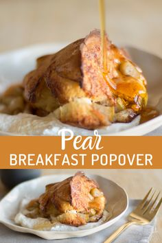 Recipe for pear breakfast popovers that are deliciously seasoned with cinnamon! Baked to perfection for a crisp crust. These popovers are perfect for a brunch or breakfast with family. They can be topped with syrup and add a dollop of whipped cream for a breakfast that seems more like dessert! Pear Recipes Breakfast, Pear Cobbler, Pear Varieties, Pear Bread, Pear Dessert, Spiced Pear, Vegetarian Recipes, Healthy Recipes, Bread Cake