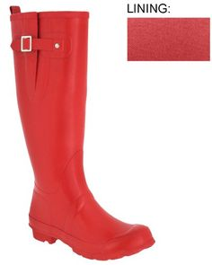 Capelli New York Ladies Fisherman Body Rubber Rain Boot With Strap Metal Buckle & Gusset Red 8 Capelli New York