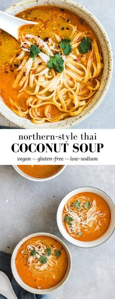 This Northern-Style Vegan Thai Coconut Soup, or Khao Soi, is made with egg noodles, a variety of curry flavours, and coconut milk for a healthy and delicious soup! Coconut Soup Recipes, Coconut Curry Soup, Healthy Soup Recipes, Vegetarian Recipes, Cooking Recipes, Thai Recipes, Vegetarian Noodle Soup, Thai Coconut Milk, Vegan Soups