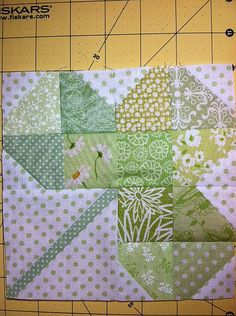 "Shamrock 81/2""  I made mine 61/2"" Pattern found here:  http://generationqmagazine.com/2012/03/playdate-shamrock-block/"