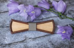 3D Wooden Bow Tie with gray leather. Standard Size for men and Little Size for kids and women. Bow tie is best gift for birthday. by BuffBowTie on Etsy