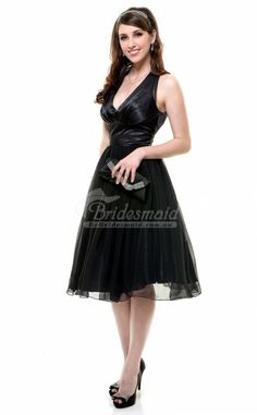 Vantage Exquisite A Line Organza Knee Length Bridesmaid Dress(BDBB0917)