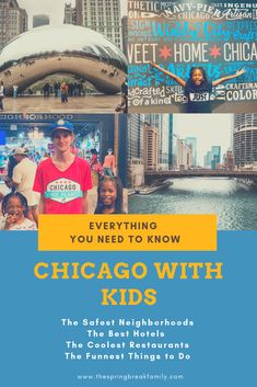 Considering visiting Chicago with kids? We've got everything you need to know including which neighborhoods are best [and safest] hotel recommendations where to go/places to visit and fun kid restaurants in Chicago! Visit Chicago, Chicago Hotels, Chicago Vacation, Chicago Chicago, Kids Restaurants, Kid Friendly Restaurants, Travel With Kids, Family Travel, Family Vacations