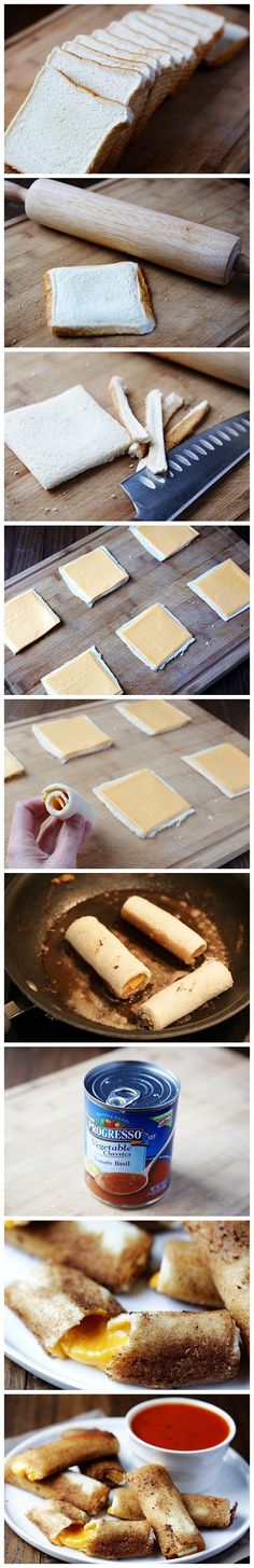 Grilled Cheese Rolls - {{ I don't think I've ever seen a better idea for a grilled cheese than this. I love mozzarella sticks, grilled cheese sticks are perfect! I Love Food, Good Food, Yummy Food, Awesome Food, Yummy Recipes, Top Recipes, Fun Food, Healthy Recipes, Amazing Recipes