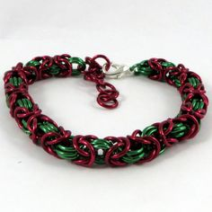 Christmas Byzantine Chainmail Bracelet Red & by HCJewelrybyRose on Etsy