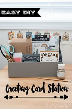 Christmas is coming up - stay ahead of the game with this easy-to-put-together DIY greeting card station! Keep all of your writing supplies in one place so you can easily put together gifts and cards for all occasions - from holidays to birthdays to just Diy And Crafts, Paper Crafts, Homemade Christmas Gifts, Diy Cards, Handmade Cards, Holiday Crafts, Diy Gifts, Cardmaking, Easy Diy