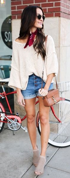 #spring #outfits White Oversized Knit & Denim Short & Grey Open Toe Booties