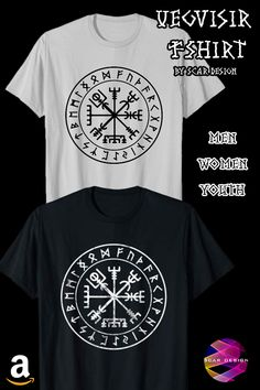 Vikings Compass Vegvisir Viking Symbol T-Shirts by Scar Design. In 5 colors  and 76d573241