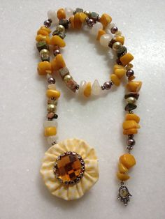 Lariat Necklace with a Fabric Pendant by hebaalayyan on Etsy, $ 26.00