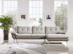 Right Facing Chaise Chrome Legs 2-Tone Grey Fabric Sectional Sofa