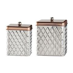 Get the Global Amici Madagascar Square Metal Diamond Canister (Set of 2), Stainless Steel securely on charingskitchen.com