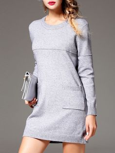 INPLUS LADY Pockets Knitted Sweater Dress