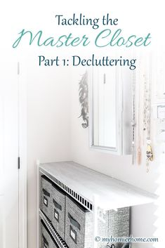 Tackling the Master Closet Part Decluttering - Is your closet overflowing with who knows what? Find out how to declutter the master closet in this - Minimalist Closet, Master Bedroom Closet, Diy Organization, Space Time, Getting Organized, Home Accessories, Diy Home Decor, Home Goods, Home Improvement