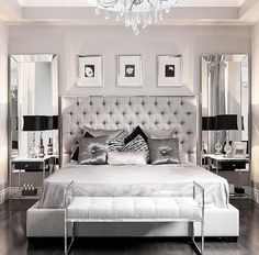 This modern glam bedroom uses shiny and lustrous fabrics, metallics and hues of grey, silver and black to create a glamorous and modern bedroom design. Glam Bedroom, Home Bedroom, Silver Bedroom Decor, Trendy Bedroom, Silver And Grey Bedroom, Silver Room, Bedroom Black, Small Grey Bedroom, Mirror Bedroom
