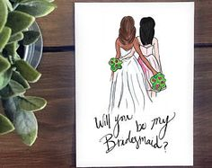 Print Bridesmaid, maid of honor, matron of honor - Brunette Bride with Black hair Bridesmaid, will you be my bridesmaid? Bridesmaid proposal