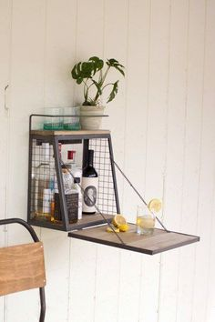 Wall Bar w/Fold Down Shelf – Posh Places Shop, perfect for a tiny house. | Tiny Homes #DIYHomeDecorSmallSpaces