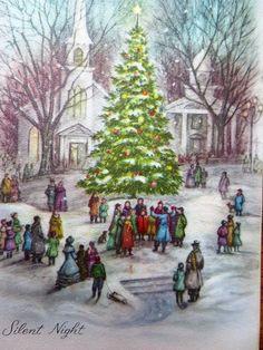 Vintage Christmas Card UNUSED People Gather in Town Around Tree Caroling