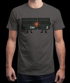 """""""Ctrl + Z IN BLACK"""" is today's £8/€10/$12 tee for 24 hours only on www.Qwertee.com Pin this for a chance to win a FREE TEE this weekend. Follow us on pinterest.com/qwertee for a second! Thanks:)"""