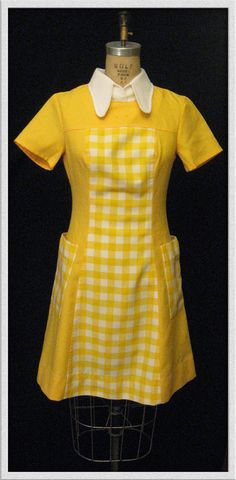 Vintage 1960's 70's Mod Yellow gingham waitress Dress.via Etsy.