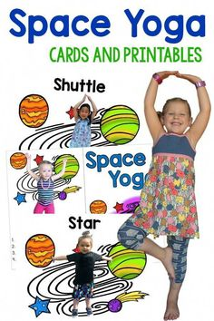 Yoga and Printables Kids Yoga and Gross Motor with a Space theme. Real kids in the yoga poses!Kids Yoga and Gross Motor with a Space theme. Real kids in the yoga poses! Space Theme Preschool, Space Activities For Kids, Gross Motor Activities, Outer Space Crafts For Kids, Space Theme For Toddlers, Space Theme Classroom, Preschool Lessons, Preschool Activities, Planets Preschool