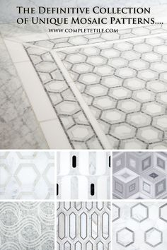 Unique mosaic patterns that will create inspired kitchen and bathroom designs. Hand made from marble and limestone in sumptuous Calacatta, Carrara, Thassos, Crema Marfil and a palette of other sophisticated colors. Decor, Tile Patterns, Tile Inspiration, Mosaic Patterns, Bathroom Remodel Master, Flooring, Mosaic, Bathroom Design, Beautiful Bathrooms